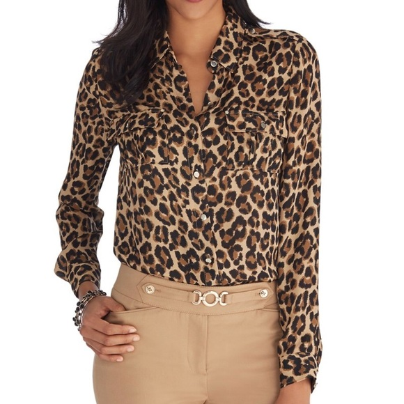 White House Black Market Tops - 100% SILK ANIMAL PRINT TOP - WHBM